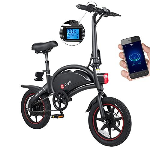 DYU D3+ Bicicletta Elettrica Pieghevole,14 Pollici Portatile Smart Bicicletta Elettrica per Adulto, [Upgrade Version] 40km Chilometraggio 250W 25km/h 36V 10Ah Bici Pedalata Assistita per Donne