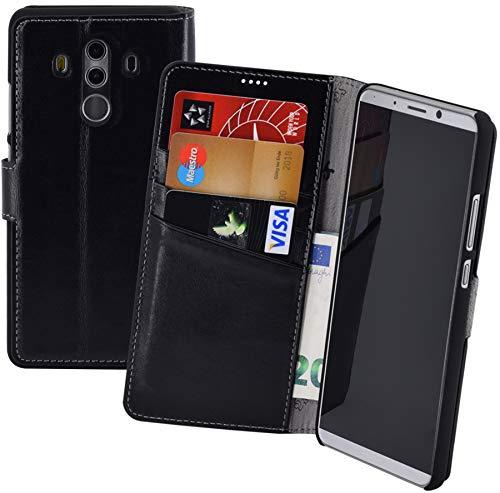 Suncase Huawei Mate 10 PRO Book-Style (Slim-Fit) Ledertasche Leder Tasche Handytasche Schutzhülle Hülle Hülle (mit Standfunktion & Kartenfach) schwarz