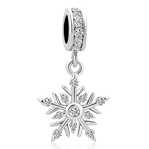Heart of Charms Merry Christmas Shiny Snowflake Charms Dangle Charms Beads for Charm Bracelets (White)