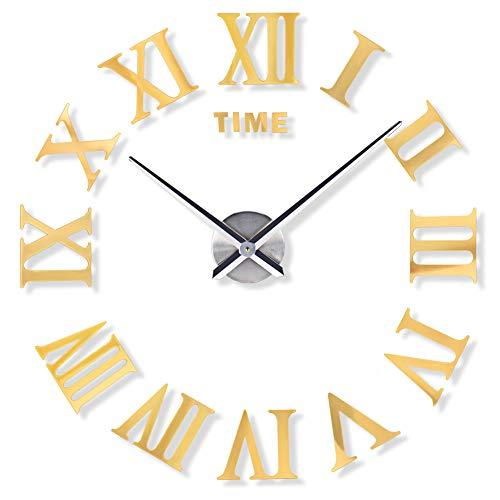 Relojes de Pared Reloj de Pared DIY de Lujo 3D Números Romanos Pegatinas Arte del hogar Reloj Moderno Grande