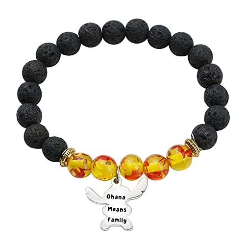 Ohana Means Family Bracelet Family Member Gift Hawaiian Bracelet Gifts for Mom Sister (yellow)