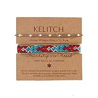 KELITCH 2PCSカラフルストランドブレスレットボヘミアン友情パールビーズブレスレットファッションジュエリー(グレーブルーF)
