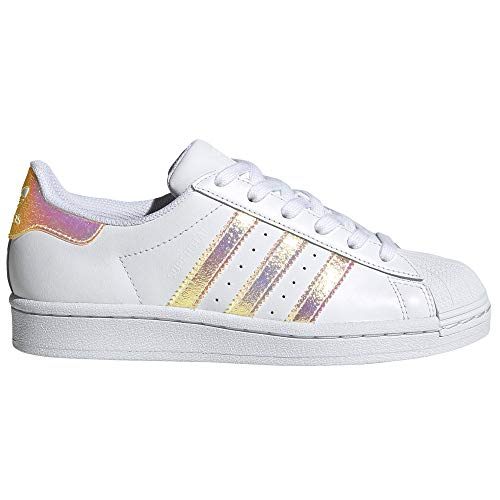 adidas Superstar Autentic Blancas para Mujer de Piel. Sneakers.4g (White/Iridiscent, Fraction_38_and_2_Thirds)