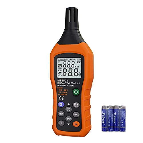 VLIKE Digital Temperature and Humidity Meter Portable Hygrometer Thermometer with Ambient Temperature Dew Point Test Wet Bulb Temperature Humidity Monitor Gauge for Daily Life Industry Agriculture