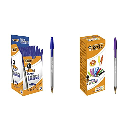 Bic Cristal Large Punta Larga 1,6 mm Confezione 50 Penne Colore Blu & Cristal 926381 penne multicolore, colori assortiti