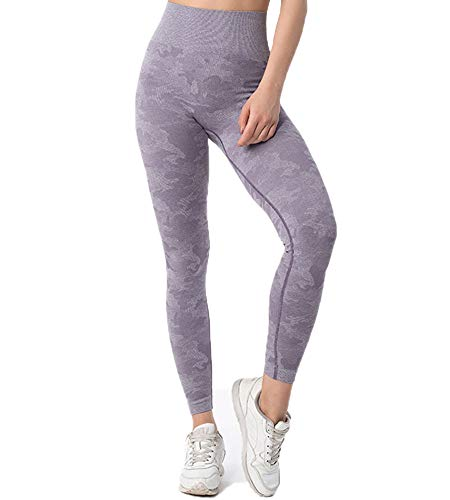 JYONE Pantalones de deporte para mujer, leggings, cintura alta/larga/camuflaje/opacos, pantalones de fitness, yoga, deporte, leggings morado M