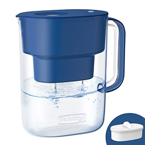 Waterdrop Lucid 10-Cup NSF Certified Water Filter Pitcher, Long-Lasting (200 gallons), 5X Times Lifetime Filtration Jug, Reduces Lead, Fluoride, Chlorine and More, BPA Free, Classic Blue