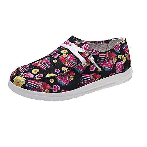 Zapatos de Lona para Mujer, Zapatillas de Deporte para Mujer, Zapatillas de Lona con Cordones Florales,Zapatos sin Cordones, Planos cómodos (C,37 EU)