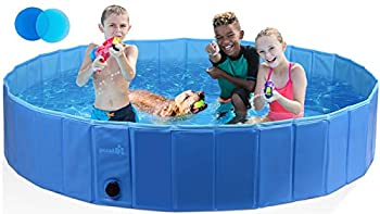 Pecute Foldable Dog Pool Portable Kiddie Pool Dog Swimming Pool Collapsible PVC Pet Bathing Tub Children Ball Pits Paddling Pool for Dogs and Kids  Φ63 × H12 in