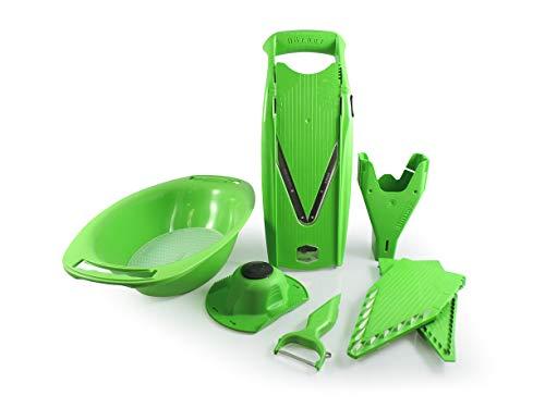 Swissmar Borner V-7000 V-Slicer 8 Piece Set with 3 Blade Inserts, Oval Slicing Bowl and 6-in-1 Peeler, Green
