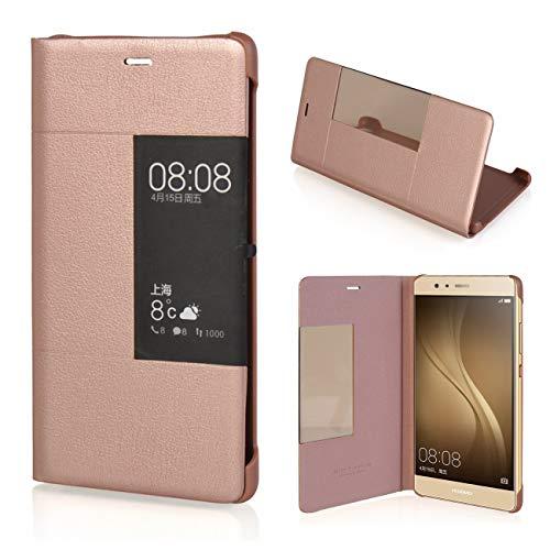 MOONCASE Klappetui Leder Tasche Schutzhülle Case Flip View Cover für Huawei P9 Rose Gold