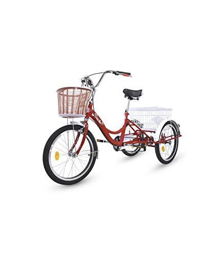 Riscko Wonduu Triciclo para Adultos con 2 Cestas, 6 Velocidades, Asiento Y Manillar Ajustable Mod. Bep-14 Rojo Sin Montaje