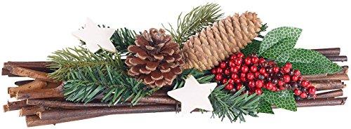 Britesta Weihnachtsgesteck Tisch: Handgefertigtes Weihnachts- & Adventsgesteck, echte Tannenzapfen, 30cm (Künstliche Adventsgestecke)