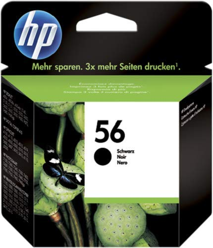 HP 56 C6656AE Cartuccia Originale per Stampanti a Getto di Inchiostro, Compatibile con Deskjet 5550, Photosmart 7350, 7150, 7345, Officejet 6110, 5110, Nero