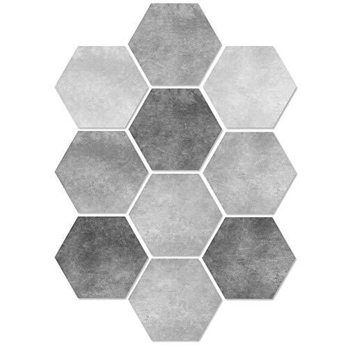 Zihuist 10 stücke geometrische wandaufkleber PVC Fliesen Selbstklebende Hexagon Fliesen Aufkleber Anti Skid DIY Boden Aufkleber Fliesenaufkleber (Color : Style-3)
