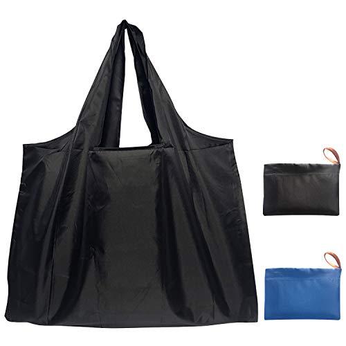 エコバッグ 折りたたみ 買い物袋 コンパクトバッグ,ecoバッグ 繰り返し洗える 大容量/耐久/頑丈/軽量/携帯便利、旅行/キャンプ/ショッピング/スポーツ用品の収納 2色セット(ブラック+ブルー)