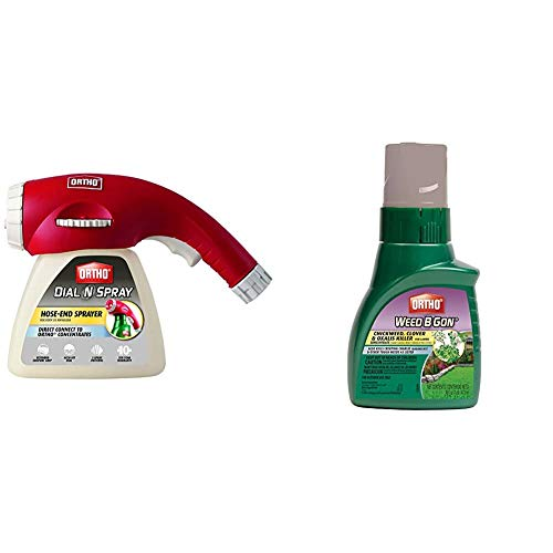Ortho Dial N Spray Multi-Use Hose-End Sprayer Weed B Gon Chickweed Clover & Oxalis Killer for Lawns Concentrate