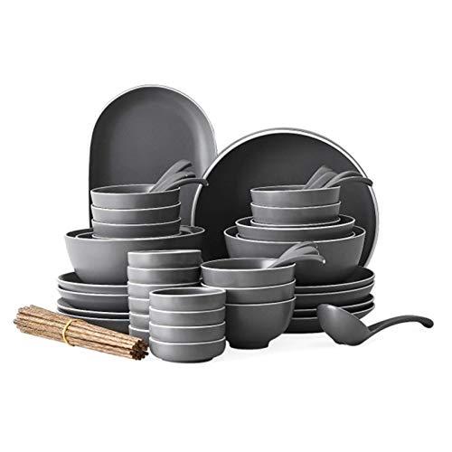 YLJYJ Plato Llano de cerámica Juegos de vajilla de 56 Piezas, Juegos de vajilla de Porcelana, Platos y Cuencos Grises Pizarra Aptos para Horno Juego de plat
