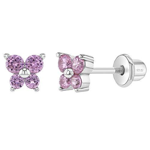 In Season Jewelry Plata Fina 925 Pendientes con Cierre de Rosca de Mariposa de Circonita Rosa para...