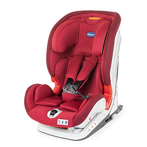 Chicco YOUniverse Siège Auto Isofix pour Bébé Inclinable 9-36 kg, Groupe 1 / 2 / 3 pour Enfants de 1 à 12 ans, Facile à Installer, avec Protections Latérales et Appui-Tête Réglable - Red Passion