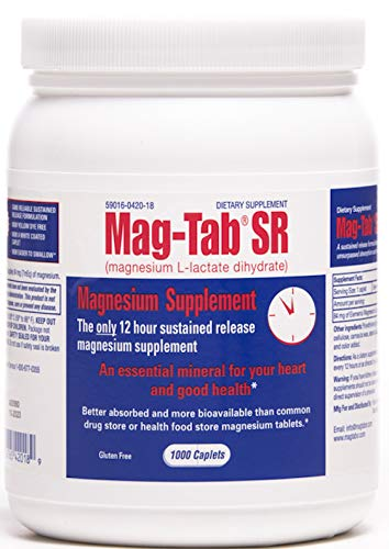 Mag-TabSR -1000 Count Bottle-Best Value for Magnesium Deficiency. Magnesium Supplement with Superior Absorption, Higher Bioavailability, Sustained-Release Magnesium Lactate Formulation.
