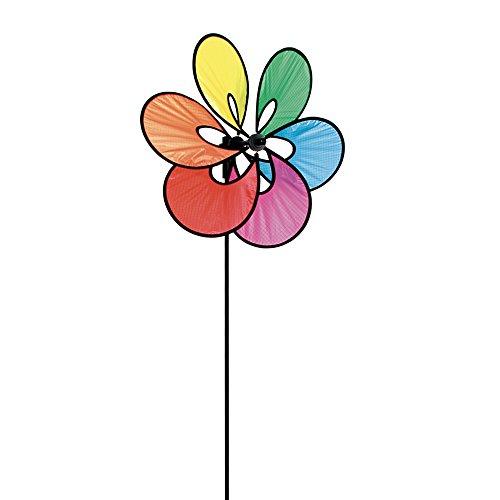 HQ Windspiration 100838 - Paradise Flower Rainbow, UV-beständiges und wetterfestes Windspiel - Höhe: 82 cm, Tiefe: 15 cm, Ø: 35 cm, inkl. Standstab und Bodenanker