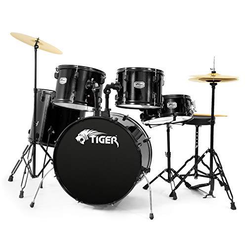 Tiger Acoustic Drum Kit - Full Size Drum Set in Black
