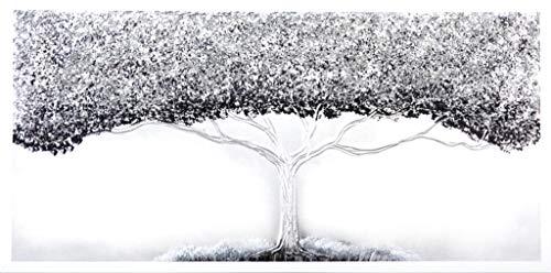 Cuadroexpres - Cuadro Pintado Árbol de la Vida Plata 120x60 cm 100% Original, sobre Lienzo, con Piedras Brillantes y Reflejos Plata