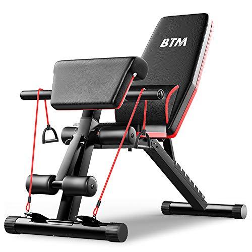 BTM トレーニングベンチ 6WAY 折りたたみ 補助縄付き 7段階 デクラインベンチ インクラインベンチ フラットベンチ 筋肉トレーニングベンチ 有酸素運動 フィットネス ダイエット器具 一年安心保証