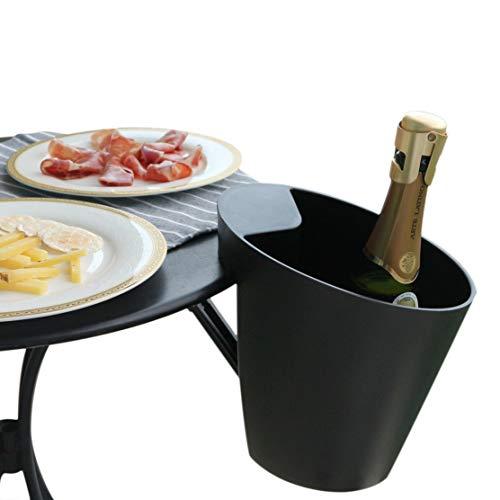 Amica Enfriador de Vino y champán, Cubo de Vino de Montaje en Mesa, diseñado en Francia, montable para Mesa de hasta 2 Pulgadas, Negro Mate, pasó la Prueba de Seguridad de 11 LB