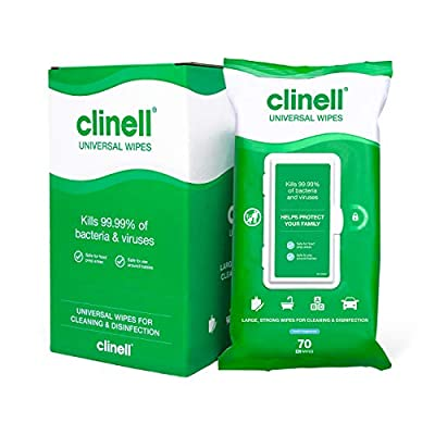 CLINELL - Universal Cleaning and Disinfecting Wipes for Home - Kills 99.99% of Germs, Effective from 10 Seconds - 4 Packs of 70 XL Antimicrobial Wipes with Lock Lid from GAMA Healthcare