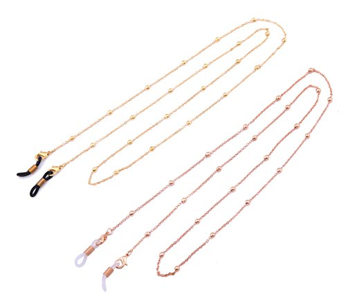 Likgreat Brillenketten für Damen, Perlenketten für Lesebrillen, Sonnenbrillen, Brillenhalter, 2 Stück