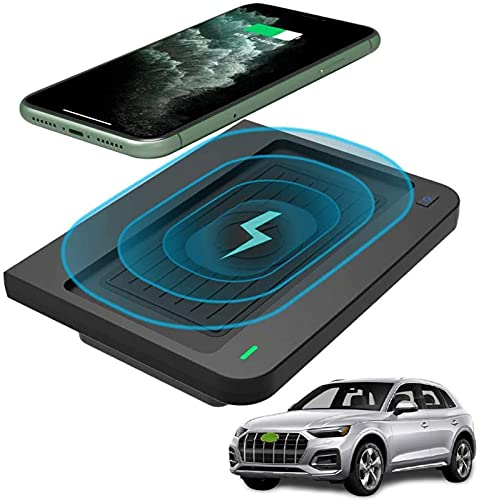 Cargador de Coche Inalámbrico de 10 W de Carga Rápida para Audi Q5 SQ5 2018 2019 2020 3 Bobinas Cargador de Teléfono Pad Audi Q5 SQ5 Panel de Accesorios de Consola Central para iPhone 11/ XS/XR/8
