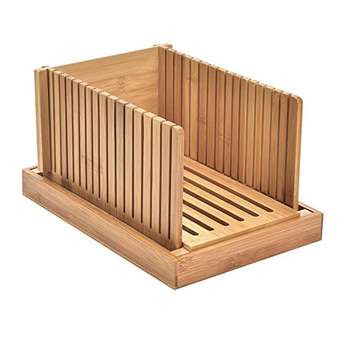 Cozy69 Cortador de pan plegable | Guía de corte plegable y fácil de usar con/bandeja desmontable para migas y servir | Rebanar con precisión pan fresco y casero con facilidad (madera)