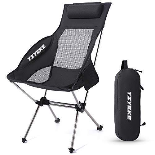 YIYEKE Outdoor Camping High Back Chair,Portable Collapsible Ultralight Chair Folding Backpacking Chair,Upgrade with Removed Headrest Compact Bag for Camp,Rocking,Picnic,Hiking,Fishing,Travel(Black)