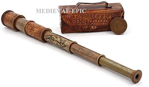 Roorkee Instruments (INDIA) Stempunk Piraten-Spyglas-Teleskop mit Lederetui / Seemannsdekoration, Piratenkapitännchen, Spielzeug, Geschenk (35,6 cm, J. Scott)