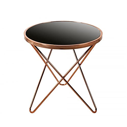 Nightstand Side End Table for Living Room/Bedroom Side Table End Tables Tempered Glass Small Round Coffee Table Wrought Iron Tea Table, Living Room end Table, Snack & Coffee Table,Home Sofa Bed Side T