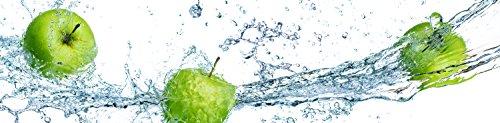 wandmotiv24 Küchenrückwand grüner Apfel 210 x 50cm (B x H) - Hartschaum 3mm Nischenrückwand Spritzschutz Fliesenspiegel-Ersatz M0736