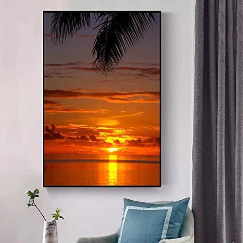 yaoxingfu Rahmenlose Moderne Landschaft Poster und Drucke Wandkunst Leinwand ng Meer Sonnenuntergang Leuchten Bilder für Wohnzimmer Dekor Kein Rahmen 40x60cm