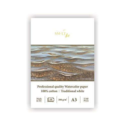 smlt 3AS 10(300)/Pro Line A3Blocco per acquerelli per professionale, 300GSM, 100% cotone bianco tradizionale, 10fogli in carta