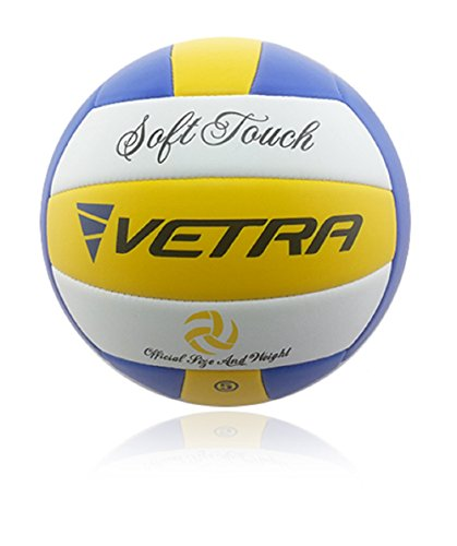VETRA Volleyball Soft Touch Volley Ball Official Size 5 Yellow/Blue/White Outdoor Indoor Beach Gym Game Ball New (Yellow/Blue/White)