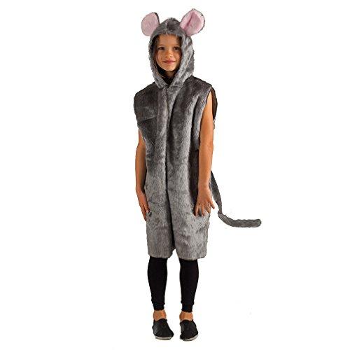 Krause & Sohn Traje de niño Gris ratón Mono Traje de Felpa Disfraz de ratón Carnaval (116/128)