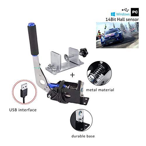 NA Simulador de Freno de Mano USB con Sensor Hall de 14 bits, Juegos de Carreras G25 / 27/29 T500 Fanatecosw Dirt Rally, estacionamiento de Emergencia Ebrake, posición Vertical, con Abrazadera