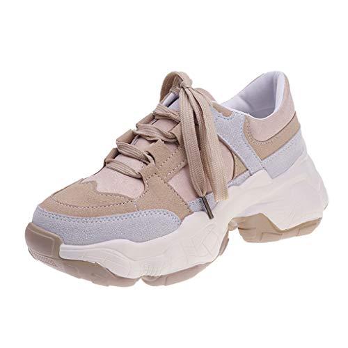 Anliyou Sneaker Damen Clorblock Plateauschuhe Sportschuhe Outdoorschuhe mit Künstlich Veloursleder Schnürschuhe Artmungsaktiv Flach Schuhe Fitness Running rutschfest Laufschuhe Slippers