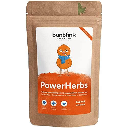 Buntfink PowerHerbs herbata superfood z szałwią + imbirem + goji + moringa + cytryna, 100% naturalna herbata ziołowa z Niemiec, 60 g herbaty