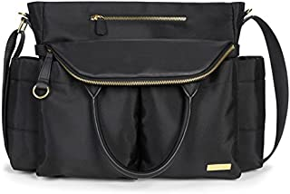 Skip Hop Baby Chelsea Downtown Chic Diaper Bag Satchel with Adjustable Shoulder and Stroller Straps, 12 Pockets, Black