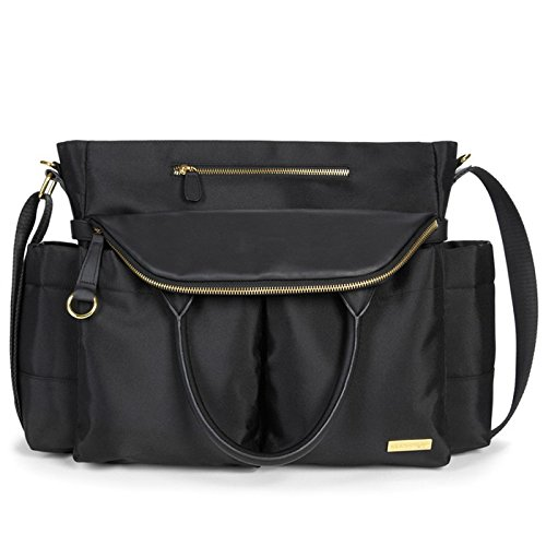 Wear this chic diaper bag over your shoulder or arm 12 pockets, including four interior pockets Soft adjustable shoulder strap Hangs neatly on a stroller and can be worn over the shoulder Faux-leather details and zipper pulls Gold metal details. Roll...