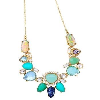 NA Aqua Blue Colorful Crystal Necklace Chunky Bib Design Rhinestone Pendant Statement Choker Collar Fashion Jewelry for Women