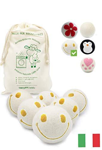 MGKolbe® Trocknerbälle für Wäschetrockner - 6 XXL Extragroße Filzbälle aus Schafwolle, der natürliche Weichspüler. Ideal für Daunenjacken. Trockner bälle Trocknerkugeln für Daunen (Lächeln Ball)