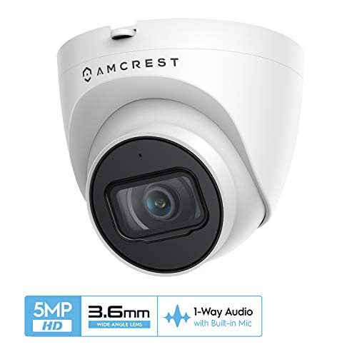Amcrest UltraHD 5MP-Sicherheit Draussen IP-Revolver-PoE-Kamera mit Mikrofon/Audio, 98 Fuß Nachtsicht, 2,8 mm Objektiv, IP67-wetterfest, MicroSD-Aufnahme (256 GB), Weiß (IP5M-T1179EW-36MM)